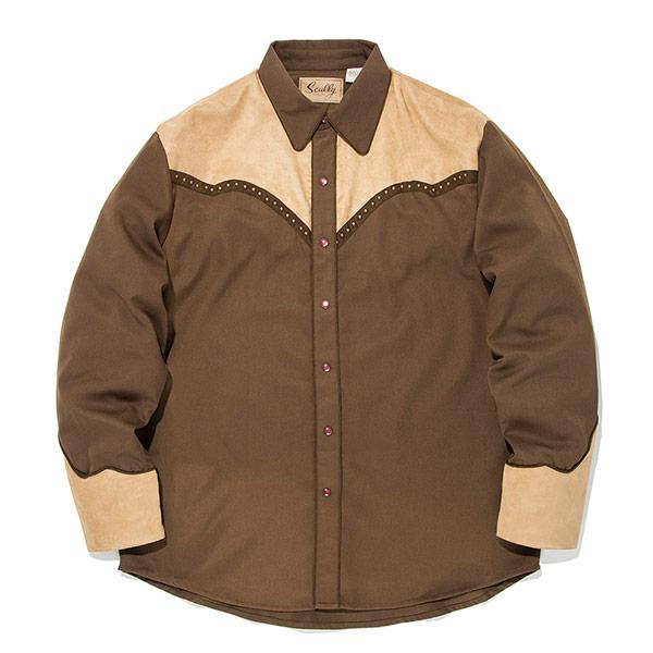 #912055スカリー Scully スタッズ付き ウエスタンシャツ ブラウン P-781 BROWN S-XL
