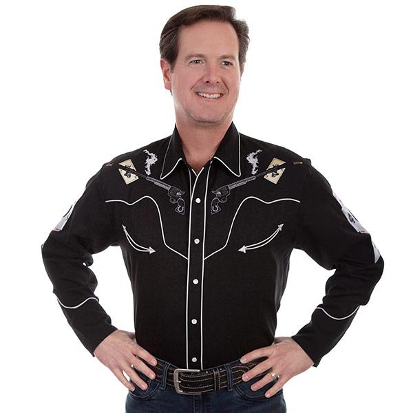 #912093スカリー Scully 銃&スカル 刺繍入り ウエスタンシャツ ブラック P 864 BLK S-L
