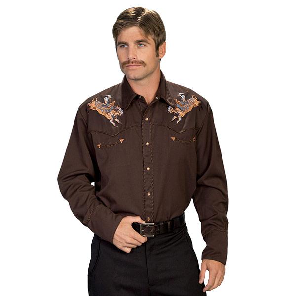 #912131スカリー Scully カウボーイ刺繍入り ウエスタンシャツ チョコレート P 816 CHO S-L