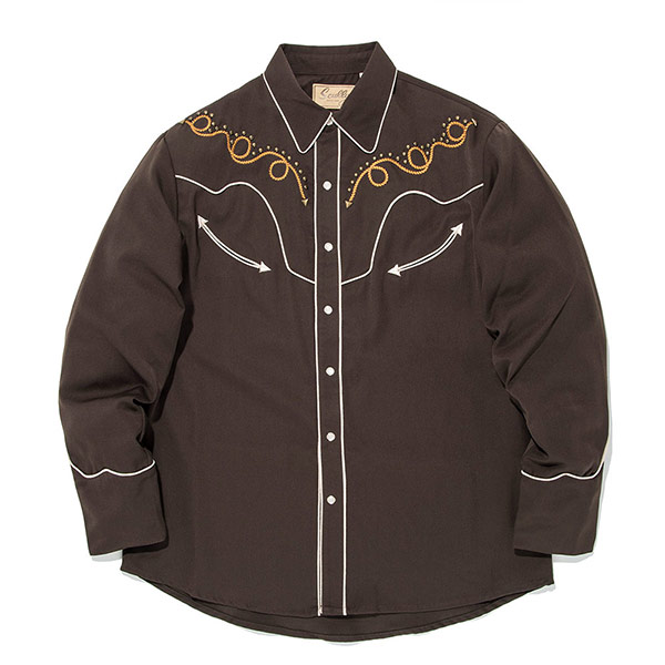 #912170スカリー Scully カウボーイロープ 刺繍入り ウエスタンシャツ チョコレート P-811 CHO S-XL