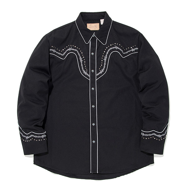 #912172スカリー Scully バーブワイヤー(有刺鉄線) 刺繍入り ウエスタンシャツ ブラック P-775 CAH S-XL