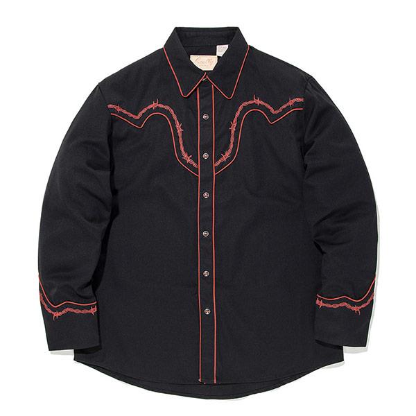 #912178スカリー Scully バーブワイヤー(有刺鉄線) 刺繍入り ウエスタンシャツ ブラック P-775 BLK S-XL
