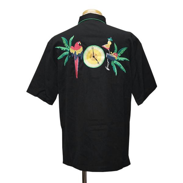 #911007 sukari(Scully)鸚鵡&表刺綉短袖西部襯衫-MEN'S SHORT SLEEVE COCKTAIL HOUR SHIRT短袖襯衫大的尺寸黑色黑S M L XL P 679S BLK 10P05Nov16