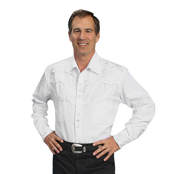 #912015スカリー(Scully)フローラル刺繍入りウエスタンシャツ - MEN'S FLORAL TOOLED EMBROIDERY SHIRT ステージ衣装 ロカビリー カントリー フラワー 花 バラ 薔薇 大きいサイズ 白 ホワイト S M L XL P 634 WHT