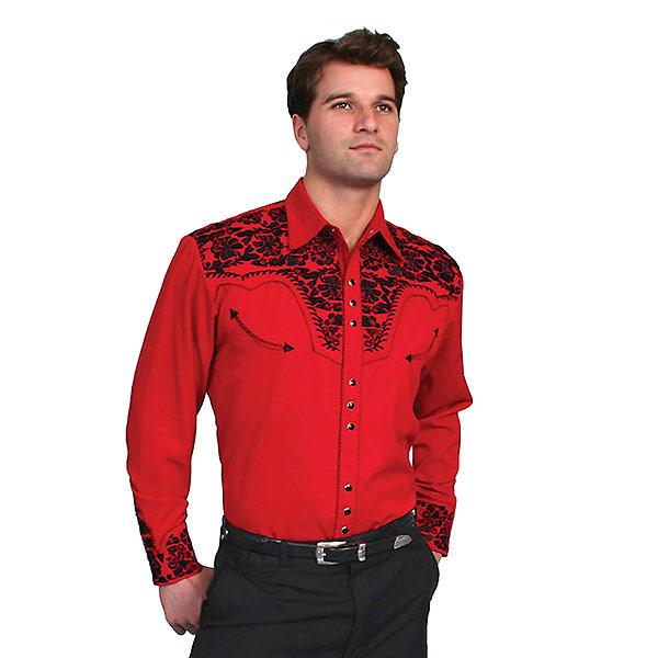 #912013スカリー(Scully)フローラル刺繍入りウエスタンシャツ - MEN'S D SLEEVFLORAL TOOLED EMBROIDERY ANE SHIRT 長袖シャツ ステージ衣装 ロカビリー フラワー 花 バラ 薔薇 大きいサイズ レッド 赤 S M L XL P 634 RED