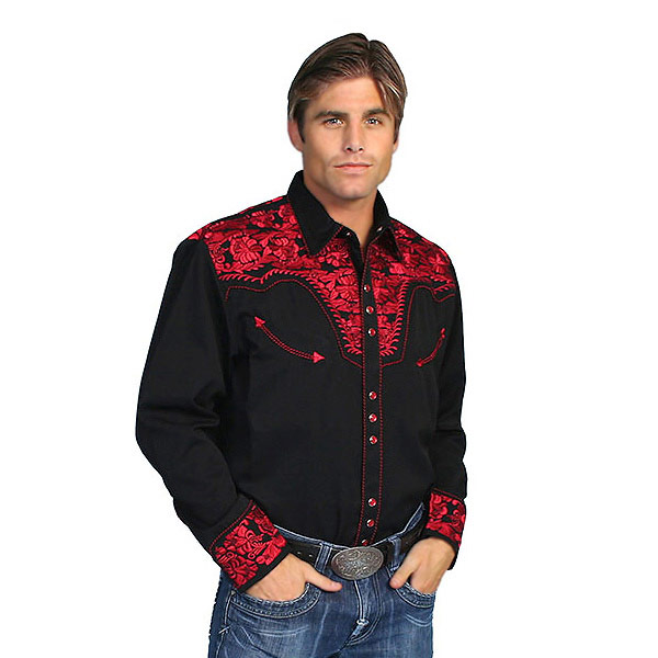 #012005 Scully (Scully) floral embroidered Western shirt-big MEN's FLORAL  TOOLED EMBROIDERY SHIRT stage costume rockabilly country flower flowers  rose rose ...