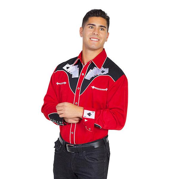 #912024スカリー(Scully)刺繍入りウエスタンシャツ - MEN'S FOUR ACE EMBROIDERY SHIRT メンズ トランプ ポーカー ステージ衣装 ロカビリー カントリー 大きいサイズ 赤 レッド S M L XL P 686 RED