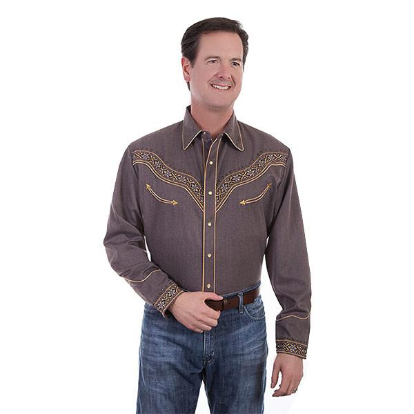 #912128スカリー(Scully)テーピング刺繍ウエスタンシャツ - EMBROIDERED TAPING SHIRT メンズ 長袖シャツ 衣装 カントリー スタッズ 大きいサイズ 茶 ブラウン S M L XL