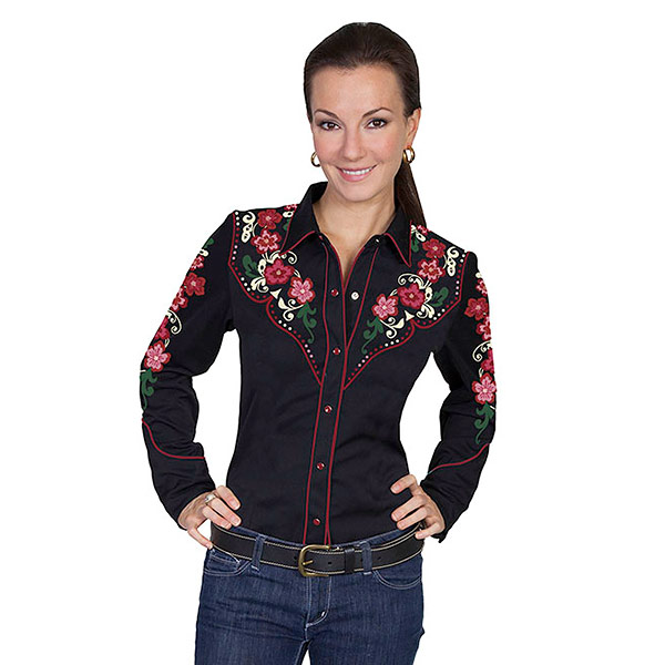 #912143スカリー(Scully)フローラル刺繍ウエスタンシャツ - FLORAL W/CIRCLE DOT PATTERN EMBROIDERY BLOUSE レディース 長袖シャツ 衣装 カントリー 大きいサイズ 黒 ブラック XS S M PL-849