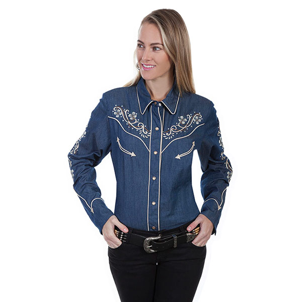 #912145スカリー(Scully)フローラル刺繍デニムウエスタンシャツ レディース デニムシャツ デニムブラウス 長袖シャツ ダンス 衣装 紺 ネイビー XS S M PL 863