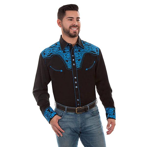 #912099スカリー Scully フローラル刺繍入りウエスタンシャツ ロイヤルブルー P-634 ROY S-XL