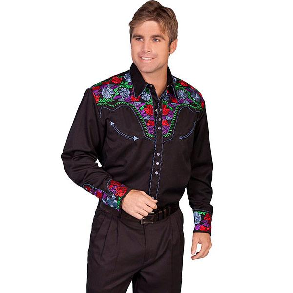 #912135スカリー Scully フローラル刺繍入りウエスタンシャツ カラフル P-634C BLU S-XL