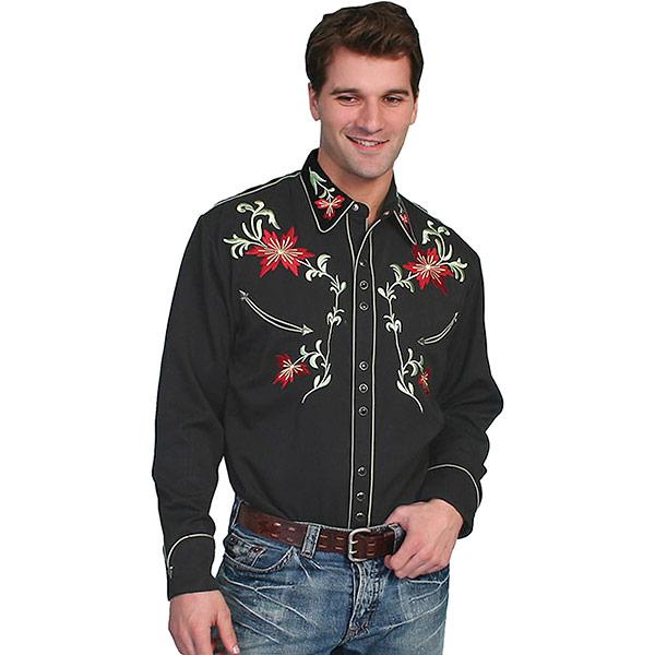 #912153スカリー Scully フローラル刺繍入りウエスタンシャツ ブラック P-633 BLK S-XL