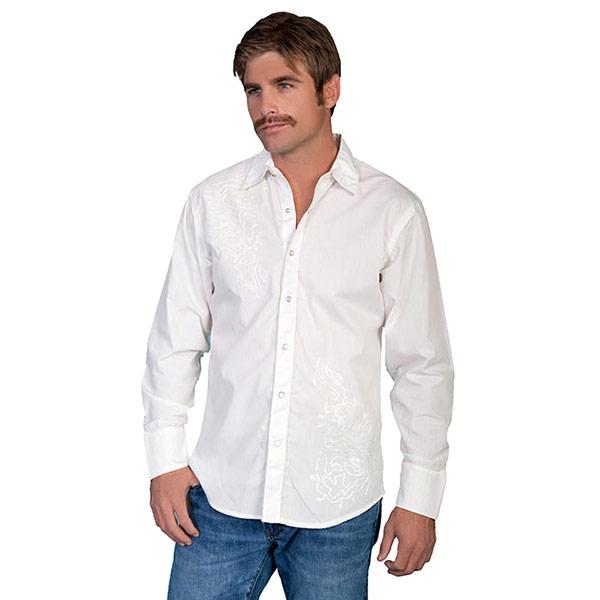 #912166スカリー Scully トーナル刺繍入りウエスタンシャツ ホワイト P-810 WHT M-XL