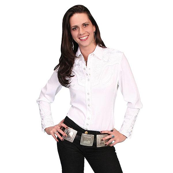 #912157スカリー Scully フローラル刺繍入りウエスタンシャツ ホワイト PL-654 WHT XS-M