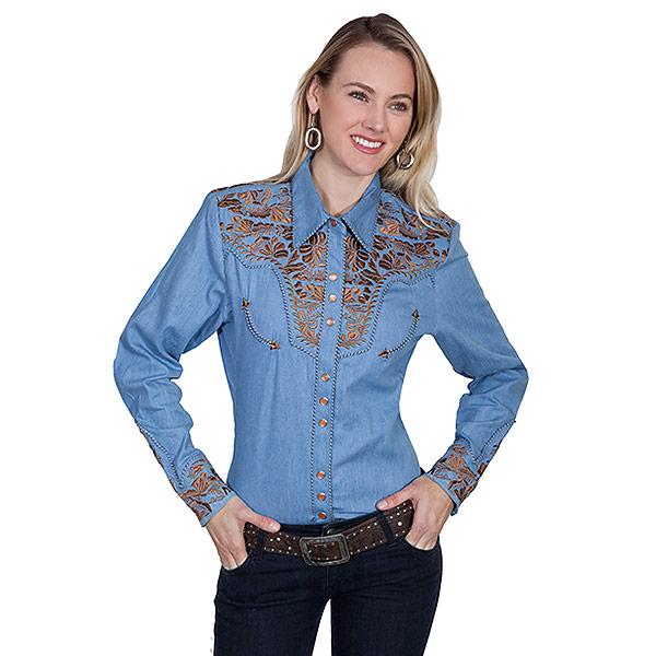 #912159スカリー Scully フローラル刺繍入りデニムウエスタンシャツ ブルー PL-654 BLU XS-M