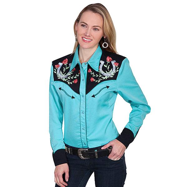 #912160スカリー Scully ローズ&ホースシュー刺繍入りウエスタンシャツ ターコイズ ブルー PL-637 TUR XS-M