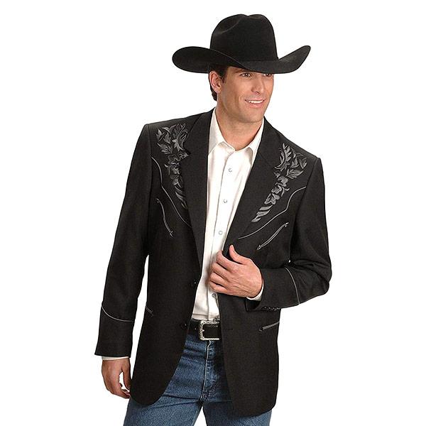 ジャケット ブレザー 2つボタン フラワー 花 刺繍 ウエスタン インディアン アメリカンネイティブ ポリエステル 2つボタンフローラル刺繍ジャケット CHARCOAL 36-42 黒 Scully #912164スカリー 大放出セール ブラック グレー 超特価 P-733
