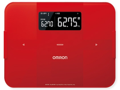 OMRON body fat calculator, scale body scan HBF-255T-R [red] [a type: a body  composition measurement position in total: sole size: 327x30x249mm weight: