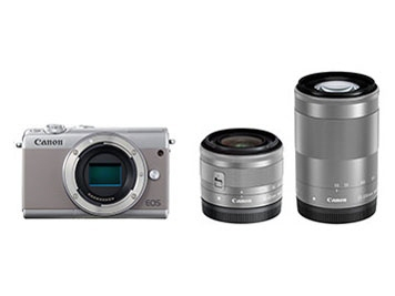 CANON デジタル一眼カメラ EOS M100 ダブルズームキット [グレー] [タイプ:ミラーレス 画素数:2580万画素(総画素)/2420万画素(有効画素) 撮像素子:APS-C/22.3mm×14.9mm/CMOS 連写撮影:6.1コマ/秒 重量:266g]