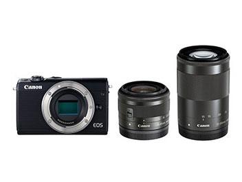 【キャッシュレス 5% 還元】 CANON デジタル一眼カメラ EOS M100 ダブルズームキット [ブラック] [タイプ:ミラーレス 画素数:2580万画素(総画素)/2420万画素(有効画素) 撮像素子:APS-C/22.3mm×14.9mm/CMOS 連写撮影:6.1コマ/秒 重量:266g]