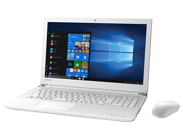 東芝 ノートパソコン dynabook T45 T45/GW PT45GWP-SEA [リュクスホワイト] [液晶サイズ:15.6インチ CPU:Celeron Dual-Core 3865U(Kaby Lake)/1.8GHz/2コア CPUスコア:1913 ストレージ容量:HDD:1TB メモリ容量:4GB OS:Windows 10 Home 64bit]