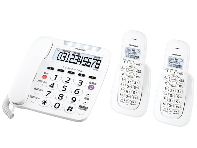 【キャッシュレス 5% 還元】 シャープ 電話機 JD-V38CW [受話器タイプ:コードレス 有線通話機:1台 コードレス通話機:2台 ナンバーディスプレイ:○ DECT方式:○] 【】 【人気】 【売れ筋】【価格】