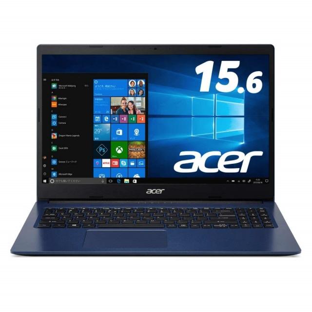 【キャッシュレス 5% 還元】 Acer ノートパソコン Aspire 3 A315-34-F14U/B [インディゴブルー] [画面サイズ:15.6インチ CPU:Celeron N4000(Gemini Lake)/1.1GHz/2コア CPUスコア:1423 ストレージ容量:M.2 SSD:256GB メモリ容量:4GB OS:Windows 10 Home 64bit]