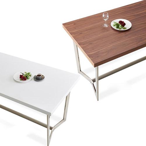 ダイニング テーブル 4人用 ホワイト ブラウン 幅:150cm~159cm 奥行き:70cm~79cm 高さ:70cm~79cm キャスター無し 既成品 カントリー クラシック シンプル ベーシック モダン 無地 木 角型 茶 ブラウン 白 ホワイト 長方形 かわいい おしゃれ クラシック モダン