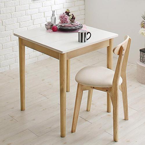 ダイニング テーブル 2人用 ホワイト ブラウン 幅:60cm~69cm 奥行き:60cm~69cm 高さ:70cm~79cm キャスター無し 既成品 エレガント クラシック シンプル ナチュラル ラグジュアリー ロマンチック 無地 木 角型 白 ホワイト 茶 ブラウン 長方形 ナチュラル かわいい
