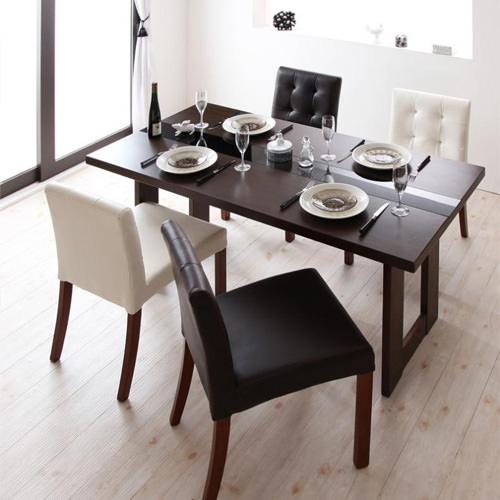 ダイニング セット ガラス天板テーブル ブラック ホワイト 幅:40cm~49cm 奥行き:70cm~79cm 高さ:90cm~99cm 既成品 シンプル ベーシック モダン 無地 木 白 ホワイト 黒 ブラック モダン おしゃれ クラシック ヴィンテージ シンプル 来客 背もたれ付き 木製
