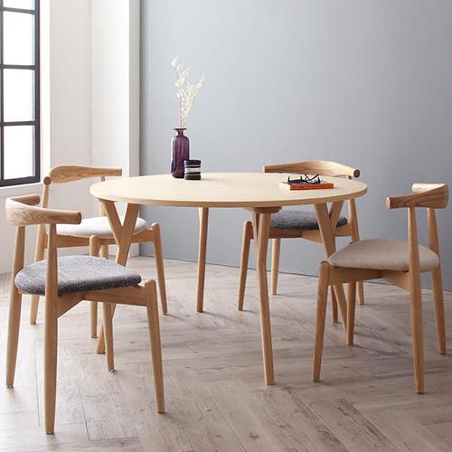 ダイニング セット 円形テーブル グレー ベージュ エレガント カジュアル シンプル ナチュラル ベーシック モダン ラグジュアリー 北欧 木 5点 灰 グレー アイボリー 5点 かわいい おしゃれ モダン シンプル ナチュラル 北欧 木製