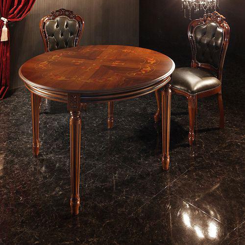 ダイニング テーブル 4人用 ブラウン 幅:110cm~119cm 奥行き:110cm~119cm 高さ:70cm~79cm エレガント カントリー クラシック シンプル ナチュラル フレンチ レトロ ロマンチック 木 丸型 茶 ダークブラウン 70cm 北欧 アンティーク かわいい おしゃれ クラシック