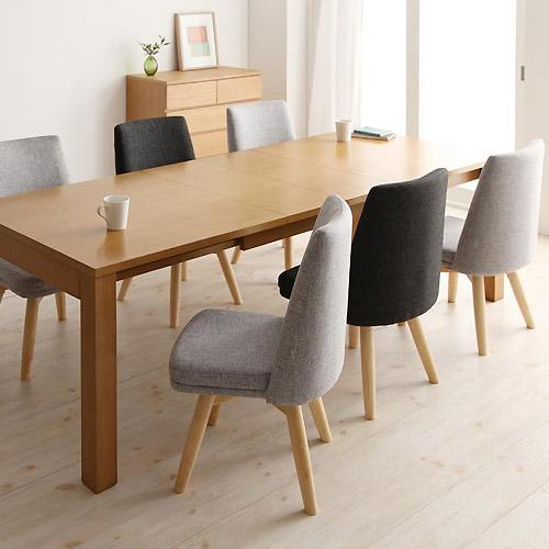 ダイニング セット 伸縮式テーブル ブラック グレー エレガント カジュアル シンプル ナチュラル ベーシック モダン ラグジュアリー 北欧 木 7点 黒 ブラック 灰 グレー 7点 おしゃれ モダン シンプル ナチュラル 北欧 長方形 木製