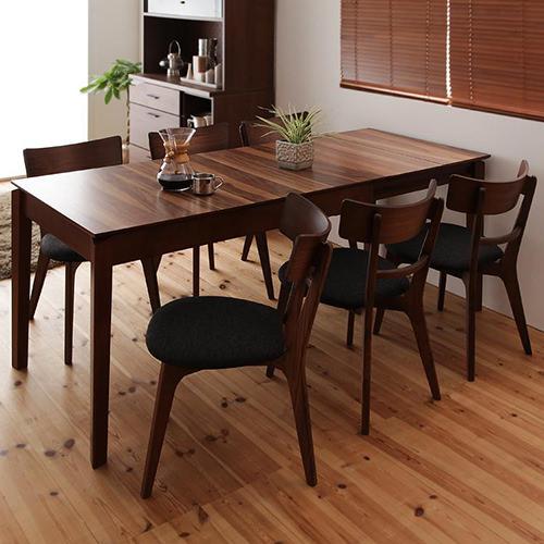 ダイニング セット 伸縮式テーブル ブラウン キャスター無し エレガント カジュアル シンプル ナチュラル ベーシック 北欧 木 7点 茶 ブラウン 7点 おしゃれ カントリー シンプル ナチュラル 北欧 長方形 木製