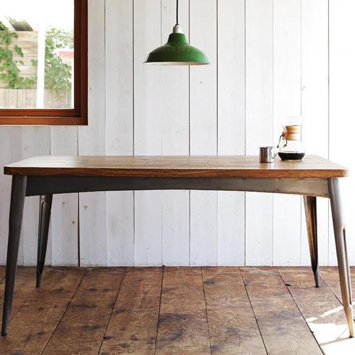 ダイニング テーブル スチール脚 ブラウン 幅:150cm~159cm 奥行き:80cm~89cm 高さ:70cm~79cm エレガント カジュアル シンプル ナチュラル ベーシック モダン ラグジュアリー 北欧 木 角型 茶 ブラウン おしゃれ カントリー シンプル ナチュラル 北欧 長方形 木製