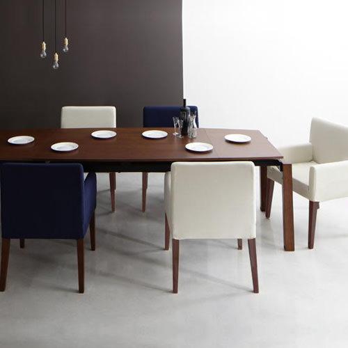 ダイニング セット 伸縮式テーブル ベージュ ネイビー カントリー クラシック シンプル ベーシック モダン 無地 木 6点 アイボリー 青 ブルー 6点 かわいい おしゃれ クラシック モダン シンプル ナチュラル カントリー 伸長 伸縮 木製