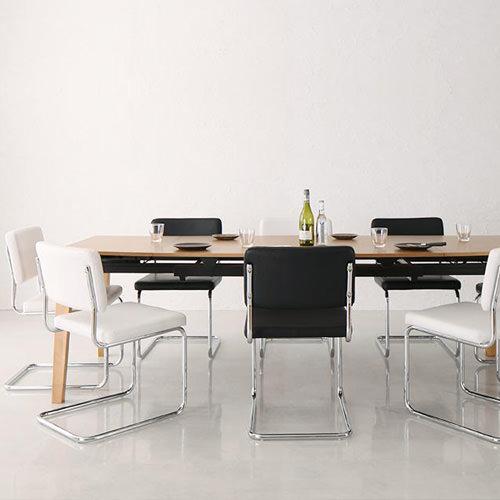 ダイニング セット 伸縮式テーブル ブラック ホワイト クラシック シンプル デザイナーズ ナチュラル ベーシック モダン レトロ 無地 7点 白 ホワイト 黒 ブラック 7点 モダン おしゃれ クラシック シンプル 応接 北欧 スチール