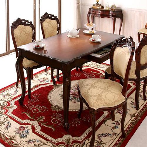 ダイニング テーブル 6人用 ホワイト ブラウン 幅:50cm~59cm 奥行き:50cm~59cm 高さ:90cm~99cm キャスター無し カントリー クラシック シンプル ベーシック モダン 無地 木 茶 ダークブラウン 背もたれ付き アンティーク かわいい おしゃれ クラシック モダン