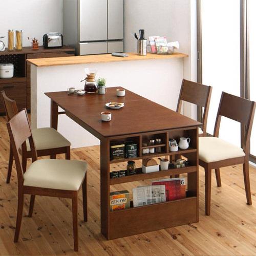 ダイニング セット 伸縮式テーブル ブラウン ベージュ カジュアル シンプル ベーシック 北欧 無地 木 4点 アイボリー 茶 ダークブラウン 4点 かわいい おしゃれ シンプル ナチュラル 北欧 来客 木製