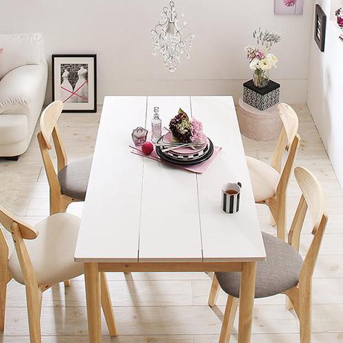 ダイニング テーブル 木脚 ホワイト ブラウン 幅:60cm~69cm 奥行き:60cm~69cm 高さ:70cm~79cm キャスター無し 既成品 エレガント クラシック シンプル ナチュラル ラグジュアリー ロマンチック 無地 木 角型 白 ホワイト 茶 ブラウン 長方形 ナチュラル かわいい