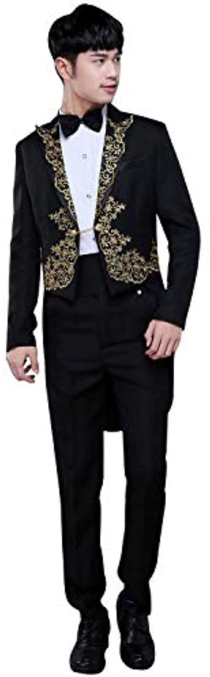 メンズ タキシード 衣装 貴族 コスプレ ハロウィン 仮装 ジャケット 4点セット Lサイズ(ブラック, L):REAPRI