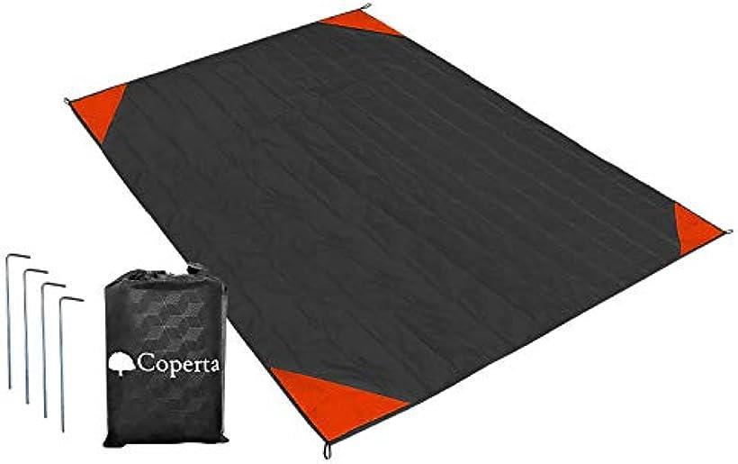 Coperta コペルタ お気にいる レジャーシート 200 x 170 グランドシート ブラックxレッド 直営店 コンパクト 防水 ペグ付き 持ち運び袋 大判 軽量