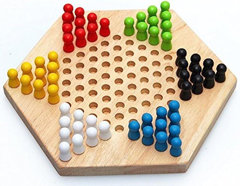 Sasuga 木製 六角 チェッカー ゲーム 永遠の定番モデル ボードゲーム 知育玩具 お得 おもちゃ でも楽しめる 子ども ナチュラル 大人
