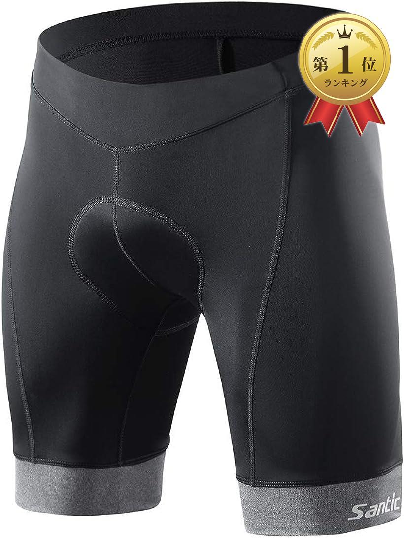 Santic サンティック メンズ サイクルパンツ サイクリングパンツ 自転車パンツ 美品 レーサーパンツ ギフト ストレッチ 吸汗速乾 グレー Large 軽量 4Dパッド 夏