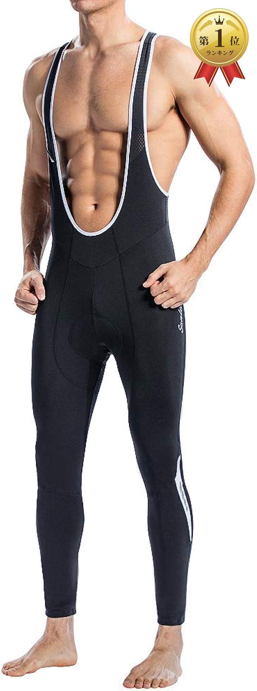 Santic サンティック メンズ ビブパンツ ビブロングタイツ 裏起毛 防寒 XL 毎日激安特売で 営業中です スポーツウェア 卸直営 ブラック 3Dパッド付き サイクルウェア 自転車
