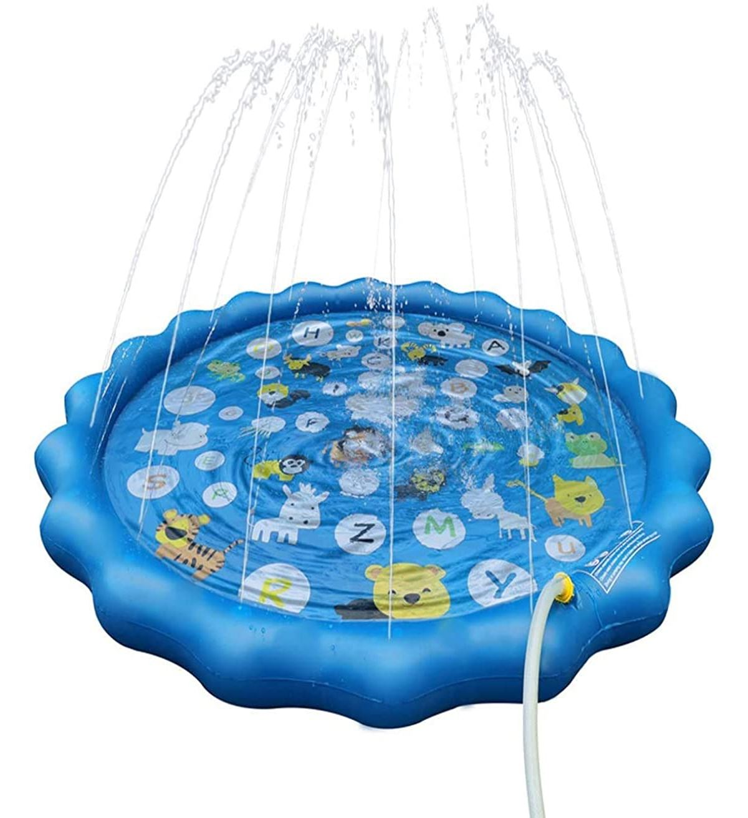 Asamoom ビニールプール 毎日激安特売で 営業中です 噴水マット 26の文字と対応する単語こども用 超激安特価 噴水おもちゃ プレイマット プール噴水 みずあそび 芝生遊び 暑さ対策 夏の庭 大型プールマット 直径170CM