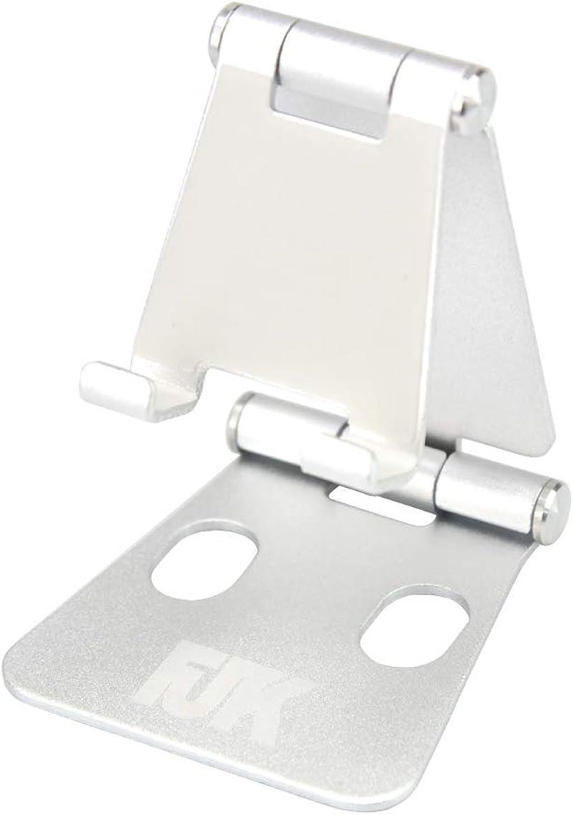 FJTK スマホ iPad タブレット 卓上 10%OFF スタンド ホルダー シルバー MDM 折り畳み式 充電可能 アルミ製 角度調節 滑り止め付き オープニング 大放出セール