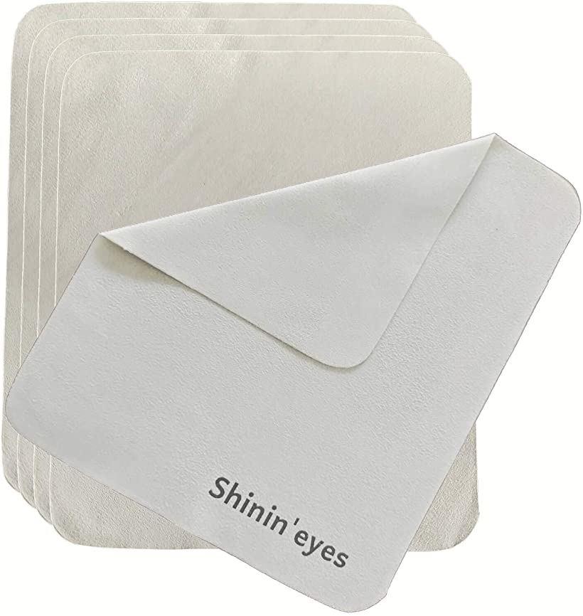 Shinin'eyes 145x175mm 5枚セット セーム革 交換無料 メガネ拭き 安心の定価販売 めがねふき