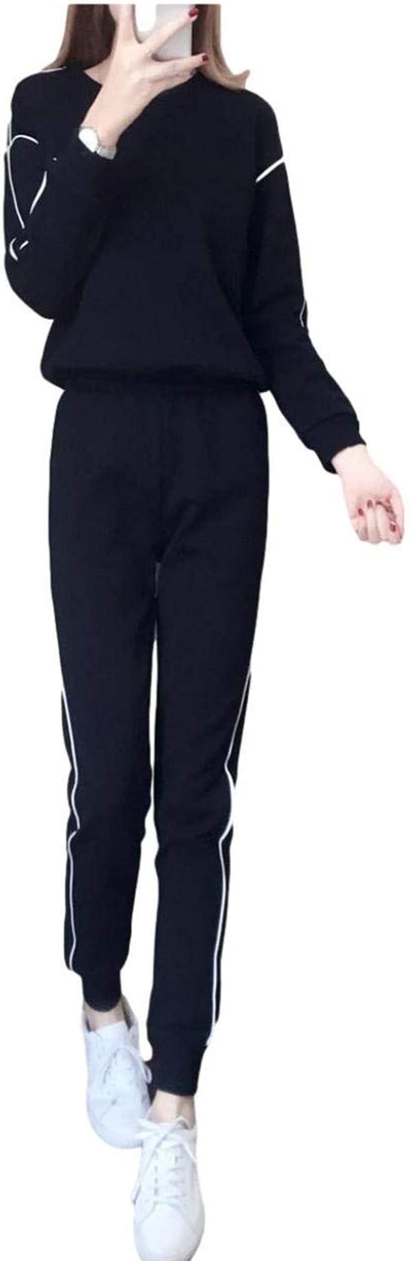 goodspoon  グッドスプン レディース ジャージ 上下 スポーツ ウェアー ランニング トレーニング フリーサイズ(ブラック, Free Size)